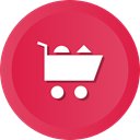 online, commerce, shopping, E, groceries Crimson icon