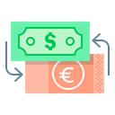 Euro, Finance, Money, Currency Exchange, Dollar, Currency, exchange Black icon