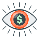 Finance, Eye, market, vision, market vision Black icon