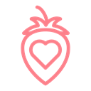 Heart, love, strawberry, dating, wedding, valentine Black icon