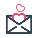 valentine, envelope, Letter, love, valentine's day Black icon