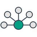 network, Connection, Interaction, Communication, Api, integration Black icon