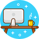 Computer, pc, Workspace, workplace, Device, mac, work Turquoise icon