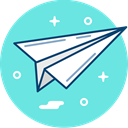 send, Plane, Communication, Origami, paper, mail Aquamarine icon