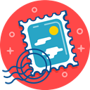 Letter, Stamp, send, post, postcard, mail Tomato icon