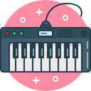 synthesizer, music, play, piano, instrument, digital DarkSlateGray icon