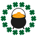 Coins, Clover, kitchen, shamrock, copper, Trefoil, patricks Black icon