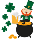 gold, happy, Leprechaun, Patrick, irish, irish pot Black icon