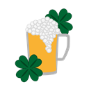 Flower, glass, beer, patricks, Tumbler, craft, wineglass Black icon