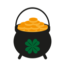 gold, jewel, treasure, Leprechaun, Patrick, boiler, theurgy Black icon