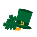 gold, happy, hat, St, saint, Patrick, Cllover DarkGreen icon