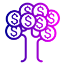 Tree, Finance, Money, Dollar, Currency Black icon