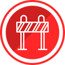 warning, equipment, danger, Construction, Roadblock Crimson icon