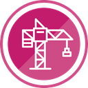 tool, Construction, Crane, operation, Lifting PaleVioletRed icon