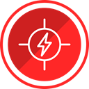 electricity, high, danger, Construction, voltage, risk Crimson icon