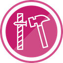 tools, hammer, Construction, Nail PaleVioletRed icon