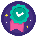 award, Badge, done, checkmark, sport, Ribbon, complete MidnightBlue icon