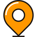 travel, Destination, ubication, location, pin DarkOrange icon
