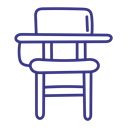 Chair, desk, school, table Black icon