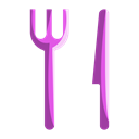 Fork, food, navigation, location, Knife, Eat Black icon