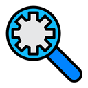 Find, search, bug, configuration, Setting, optimization Black icon