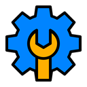 google, Setting, optimization, Configure, support, repair DodgerBlue icon