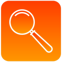 magnifying, zoom, glass, scientific DarkOrange icon