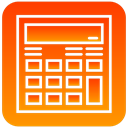 Calc, calculator, scientific OrangeRed icon