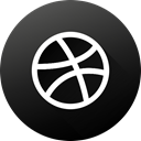 dribbble, long shadow, High Quality, Black white, Circle, social media, Social DarkSlateGray icon