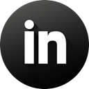 Circle, social media, Linkedin, Social, long shadow, High Quality, Black white DarkSlateGray icon