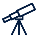 telescope, Space and astronomy Black icon