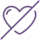 Not Allowed, no, Heart, love, sign, romance, valentine Black icon