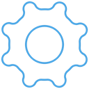 outline, Blue, Gear, ui, Setting, free Black icon