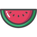 Fruit, organic, watermelon, vegetarian, vegan, food Black icon