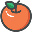 Orange, food, Fruit, organic, vegetarian, vegan Coral icon