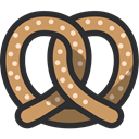 Bakery, baker, pretzel, food, Dessert DarkSlateGray icon