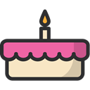 Bakery, baker, birthday, cake, food, Dessert Black icon