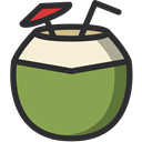 drinking, cocktail, Coconut, Juice, food, Fruit YellowGreen icon