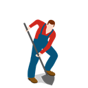 Farm, Farmer, digging, Man, people, male, shovel Black icon