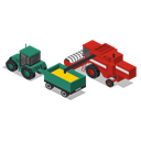 Back, Combine, vehicles, tractor, Farm, rural Black icon
