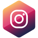 social media, Social, Colored, media, Instagram, Hexagon, High Quality Black icon