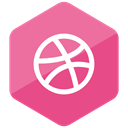 media, social media, Social, Colored, dribbble, Hexagon, High Quality PaleVioletRed icon