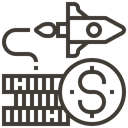 Finance, Money, Rocket, Cash, Dollar, Currency, Accounting DarkSlateGray icon