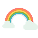 Cloud, sun, vibrant, Rainbow, spring, Colorful Black icon