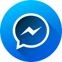Gradient, Circle, media, Messenger, social media, Social, long shadow DodgerBlue icon