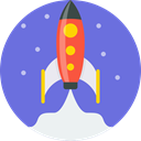 Blast off, Launch, spaceship, Rocket, ship, space MediumSlateBlue icon