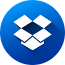 media, dropbox, Circle, social media, Social, Colored, long shadow DodgerBlue icon