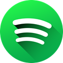 media, Gradient, Circle, social media, Social, Spotify, long shadow LimeGreen icon