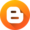 media, blog, Gradient, Circle, social media, blogger, Blogspot DarkOrange icon