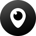 Gradient, Circle, social media, Social, long shadow, Periscope, Black white Icon